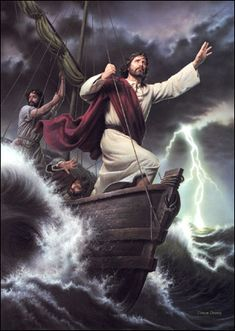 The following artwork depicts Jesus calming the storm (Mark 4:35-41) as the Christ and his Disciples cross the Sea of Gallilee; one of the many miracles he [Jesus] performed c/24-28 A.D......the mighty hand of God!
