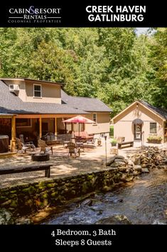 Stay on the water at Creek Haven! This Gatlinburg creekfront cabin has a fire pit, hot tub, waterfall, fishing, fireplace and is located downtown. Gatlinburg Vacation Rentals, Ober Gatlinburg, Farm Style Dining Table, Mountain Vacations, Smoky Mountain National Park, Great Smoky Mountains, Outdoor Fire, Cabin Rentals, Banks