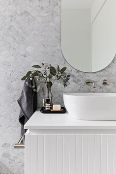 The powder room at Oaks St. The custom vanity or mirror, the brushed nickel tapware or the tiles 🤔 Its a tough… Decor, Bathroom Inspiration, Bathroom Decor, Interior, Beautiful Bathrooms, Home Decor, House Interior, Bathroom Design, Bathroom