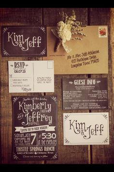 Chalkboard-style wedding invitations. Could be used
