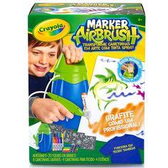Conheça o incrível Marker Airbrush Crayola, com ele a imaginação e criatividade das crianças vão se transformar em arte. A Crayola, com seus produtos inovadores e de altíssima qualidade está sempre desenvolvendo brinquedos quês estimulam o potencial da garotada.   Com o AirBrush, você transforma as tradicionais canetinhas Crayola, em um aerógrafo, que permite pintar diversas superfícies, como papel e tecido com um efeito de grafite.   Além do Aerógrafo, acompanha  8 canetinhas laváveis, 4…