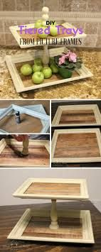 tiered food display / storage piece for kitchen from recycled, repurposed picture frames... inspiration, could do more tiers, change sizes (smaller nice for fish sponges, scrubbers, spot to see jewelry prn...) ...