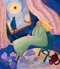Cat and people paintings. Natalya Bronnikova - Morning.