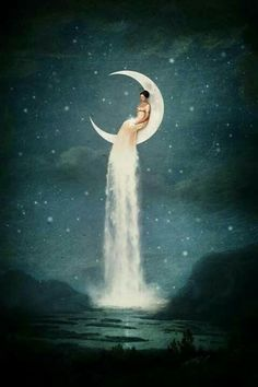 """""""Moon River Lady"""" Digital Art by Paula Belle Flores posters, art prints, canvas prints, greeting cards or gallery prints. Find more Digital Art art prints and posters in the ARTFLAKES shop. Moon River, Affinity Photo, Moon Magic, Moon Goddess, Luna Goddess, Moon Art, Moon Moon, Luna Moon, Nocturne"""