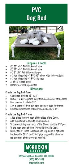 Make your own PVC Dog Bed using simple items found in a hardware store!  www.mcguckin.com