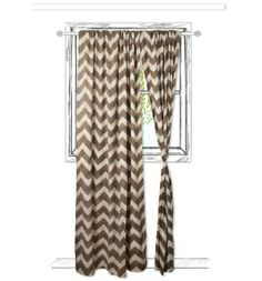 """Chevron Block Printed Window Panel  Fabric: Light weight cotton Color:  Taupe and off white Size:  44"""" x 84"""" Description: This curtain is hand block printed and dyed in natural dyes, an old dyeing technique. The curtain has 3"""" tunnel hem on top for curtain rod. Please note each curtain is hand printed and thus has variations from curtain to curtain, adding to the beauty of its handmade nature.   *Cost is per panel"""
