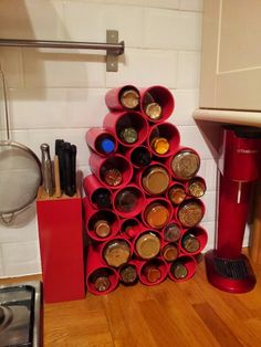 Spice rack from upcycled cardboard tubing.