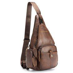 Ekphero Vintage Genuine Leather Multi-pocket Casual Crossbody Bag Chest Bag  For Men is hot-sale 3d1650d240691