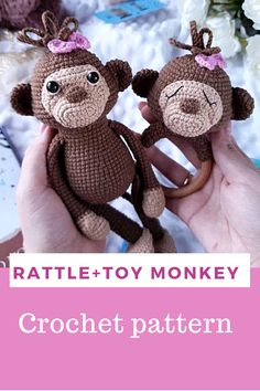 Crochet pattern monkey toy, monkey rattle and banana Toy Monkey, Developmental Toys, Crochet Accessories, Stuffed Toys Patterns, Beautiful Crochet, Handmade Toys, Crochet Toys, Girl Nursery, Nursery Ideas