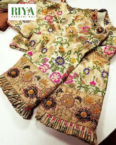Benarasi blouse highlighted with zari and pearl . Sleeve with a rawsilk hem with a stunning french knot and zardosi work . Pleats to… Pattu Saree Blouse Designs, Blouse Designs Silk, Designer Blouse Patterns, Bridal Blouse Designs, Zardosi Work Blouse, Lehenga Blouse, Designer Dresses, Simple Blouse Designs, Stylish Blouse Design