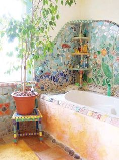 30 Hippie House Ideas 35 You are in the right place about hippie home decor diy. - Hippie Home Decor Earthship, Bohemian Bathroom, Interior And Exterior, Interior Design, Interior Ideas, Mosaic Bathroom, Bathroom Colors, Bathroom Wall, Bathroom Designs