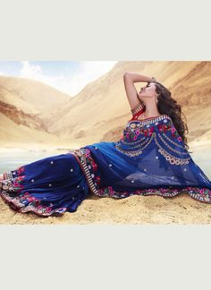 Gorgeous Blue Viscose Georgette Saree
