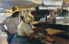 My favorite painting, 'Valencia Beach - Morning Sun' by Joaquin Sorolla. it's beautiful in person, at the Balboa Park art museum in San Diego. Spanish Painters, Spanish Artists, Sun Painting, Figure Painting, Morning Sun, Claude Monet, Valencia Beach, Cheap Paintings, Oil Painting Reproductions