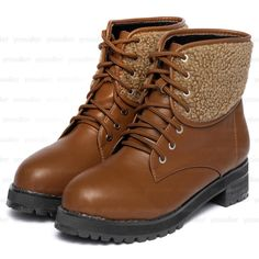 Fleece Panel Lace-Up Short Boots – Boots   yeswalker   Free worldwide shipping on every order