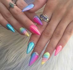 Why are stiletto nails so amazing? We have found the very Best Stiletto Nails for 2018 which you will find below. Having stiletto nails really makes you come off as creative and confident. You can be that fierce girl you always wanted to be! Unicorn Nails Designs, Unicorn Nail Art, Hair And Nails, My Nails, Long Nails, Short Nails, Crome Nails, Stiletto Nail Art, Acrylic Nails