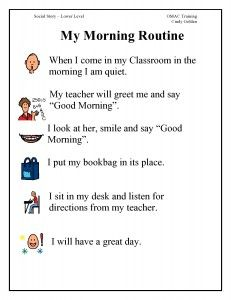 Visual Schedule to teach a classroom morning routine