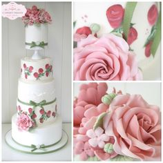 Hand Painted Vintage #Wedding Cake with hand crafted sugar flowers, rose buds, fondant lace & elevated top tier x
