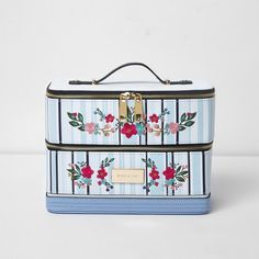 River Island Blue stripe floral embroidered vanity case ($70) ❤ liked on Polyvore featuring beauty products, beauty accessories, bags & cases, bags / purses, blue, make up bags, women, river island, wash bag and cosmetic purse