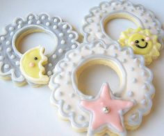 Sugar Cookies Baby Shower Sun Moon Star by SugarMeDesserterie, etsy