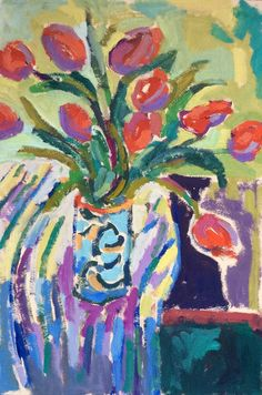 """Still Life with Red Tulips"" by Lynne Hamontree, 18 x 12, oil on paper, $400"