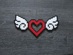 Winged Heart Hama Beads / Heart With Wings Perler Beads - Basteln