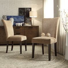 INSPIRE Q Catherine Tan Chenille Parsons Dining Chair (Set of 2) | Overstock™ Shopping - Great Deals on INSPIRE Q Dining Chairs