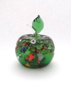 Beranek Glassworks Rene Roubicek 7600 -- very large glass apple -- Czech art glass -- with label