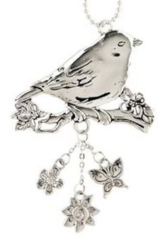 """Amazon.com: Cool & Custom {7"""" Chain Hang} Single Unit of Rear View Mirror Hanging Ornament Decoration Made of Zinc Alloy w/ Cute Small Wildlife Sparrow Bird w/ Charms Angel Design [Accord Silver Colored]: Automotive"""