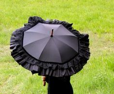 Black Lace Shower proof Winter Parasol. $210.00, via Etsy.