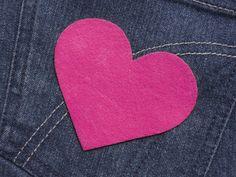 Herz  (Größe L) pink Bügelmotiv Patch 85mm  von Silwarin auf DaWanda.com