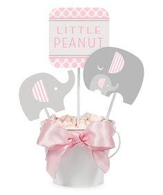 $5.99 marked down from $7.70! Pink Little Peanut Centerpiece & Picks Décor - Set of Six #baby #babyshower #firstbirthday #birthday #centerpieces #elephant #zulilyfinds