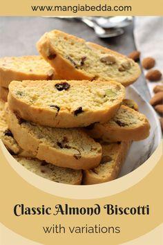 Enjoy this easy recipe for biscotti with 3 variations! #biscotti #almondbiscotti #italiancookies Delicious Desserts, Dessert Recipes, Yummy Food, Biscotti Recipe, Italian Recipes, Vegan Recipes, Italian Cookies, Mediterranean Recipes, Tim Tam