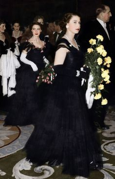 Queen Elizabeth II and Princess Margaret in Court Mourning, 1952, for the late King George VI.