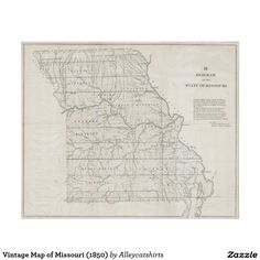 Vintage Map of Missouri (1850) Poster