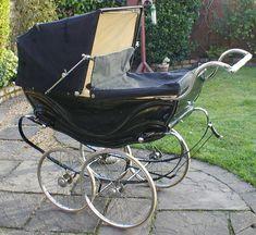 Vintage early black coach built Silver Cross pram