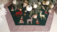 "Plaid Tree Skirt, 60"", Christmas Deer, Woodland Christmas Tree Skirt"