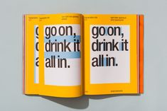 After in the market vitaminwater asked Collins to revitalize their brand with a refreshed strategy, design system and visual language. The brand needed an injection of energy in order to keep competing with the high number of copycat brands. Typography Layout, Graphic Design Typography, Lettering, Typography Books, Editorial Layout, Editorial Design, Magazin Design, Brand Style Guide, Brand Book