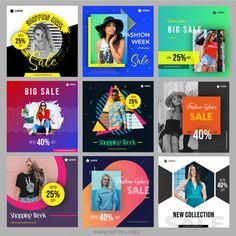Social media shopping pack for marketing Premium Vector Social Media Ad, Social Media Banner, Social Media Template, Social Media Design, Social Media Graphics, Social Media Marketing, Instagram Banner, Design Poster, Instagram Design