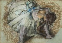 Degas, Edgar: Dancer Adjusting Her Shoe. Fine Art Print/Poster. Sizes: A4/A3/A2/A1 (003732)