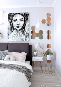 """Monochrome female portrait wall art print in black, white, grey and blush pink. Perfect art piece for a scandinavian / nordic or white interior. """"Imperfection"""" by Australian artist Kate Fisher.bed"""