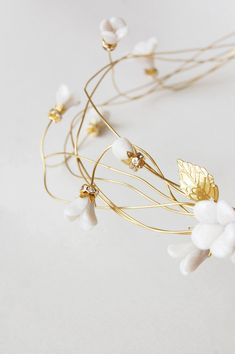 Bridal hair crown flower hair wreath gold headpiece by Elibre Wedding Hair Flowers, Wedding Hair Pieces, Flowers In Hair, Clay Flowers, Gold Headpiece, Flower Headpiece, Headpiece Wedding, Flower Hair Accessories, Wedding Hair Accessories