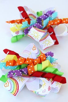 DIY hair bow - curly ribbon