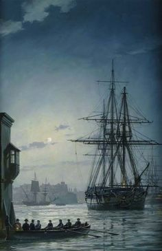 "On a quiet evening, ""HMS Surprise"" lies at anchor in Grand Harbour, Malta, a Marine standing guard on deck. A cutter pulls away from the dock the officers in the stern softly lit by a lantern. In the background on the right can be seen a British 74-gun warship and a Genoese barque is being towed across the harbour. Geoff Hunt"