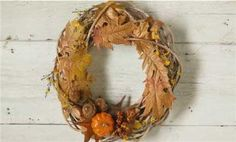 20 Minute Fall Wreath - All it takes is a few minutes of your time, some natural fall embellishments, and a store-bought twig wreath to make this easy fall craft