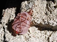 Rose Quartz Pendant Wire Wrapped in Copper and by sferradesigns