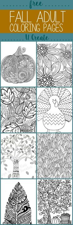 Free Fall Adult Coloring Pages // Páginas para colorear para adultos gratis freethanksgivingcoloringpages Coloring Book Pages, Printable Coloring Pages, Fall Coloring Sheets, Pumpkin Coloring Pages, Coloring Pages For Grown Ups, Thanksgiving Coloring Pages, Free Adult Coloring Pages, Thanksgiving Crafts, Thanksgiving Activities