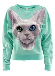 Mint Green Cuff Zipper Cat Print Sweatshirt US$25.80