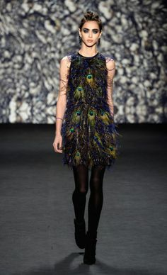 Nicole Miller, Fall 2014, Peacock feather dress, NYFW, MBFW