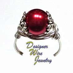 Elegant Black Cherry Pearl Solitaire Silver Wire Wrap Ring All Sizes. Starting at $9