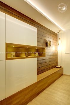 A premium wall decor unit with large storage as closed cabinet with glossy White Shutters. Living Room Partition Design, Living Room Tv Unit Designs, Room Partition Designs, Bedroom Cupboard Designs, Small House Interior Design, Flat Interior, Home Room Design, Tv Unit Interior Design, Wardrobe Door Designs